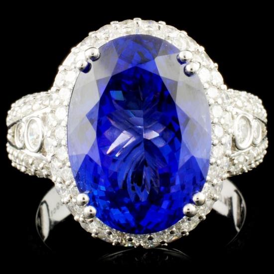 18K Gold 8.59ct Tanzanite & 1.49ctw Diamond Ring