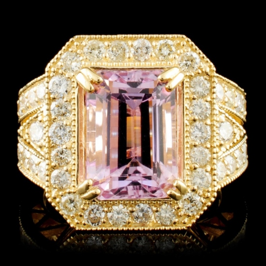 14K Gold 6.80ct Kunzite & 1.72ctw Diamond Ring