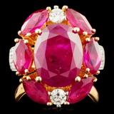 14K Gold 8.64ct Ruby & 0.48ctw Diamond Ring