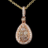 14K Rose Gold 1.17ctw Diamond Pendant
