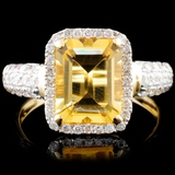 14K Gold 2.00ct Citrine & 0.52ctw Diamond Ring