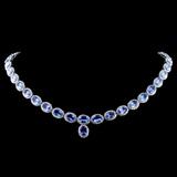 14K Gold 31.59ct Tanzanite & 6.50ctw Diamond Neckl
