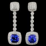 14K Gold 3.11ct Tanzanite & 0.99ct Diamond Earring