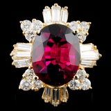 14K Gold 5.76ct Tourmaline & 1.81ctw Diamond Ring
