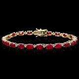 14k Gold 12.00ct Ruby & 0.50ct Diamond Bracelet