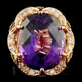 14K Gold 23.02ct Amethyst & 0.75ctw Diamond Ring