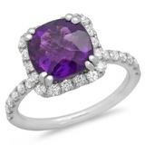 14K Gold 3.00ct Amethyst & .60ct Diamond Ring