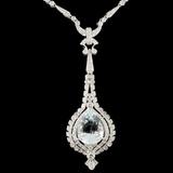 14K Gold 9.98ct Aquamarine & 2.89ctw Diamond Neckl