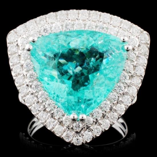 18K Gold 9.70ct Tourmaline & 3.96ctw Diamond Ring