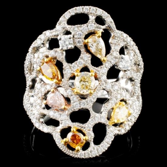 18K Gold 1.31ctw Fancy Color Diamond Ring