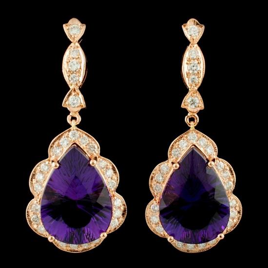 14K Gold 17.00ct Amethyst & 1.51ctw Diamond Earrin