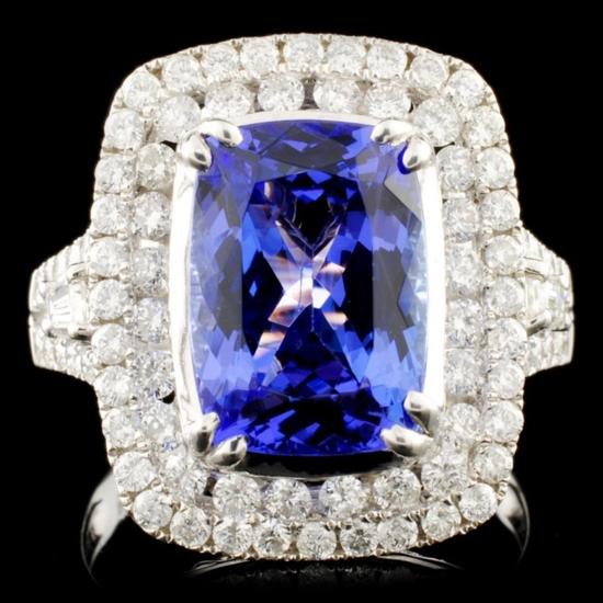 18K Gold 4.22ct Tanzanite & 1.24ctw Diamond Ring