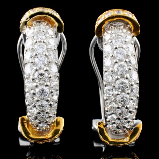 18K Two Tone 1.41ct Diamond Earrings