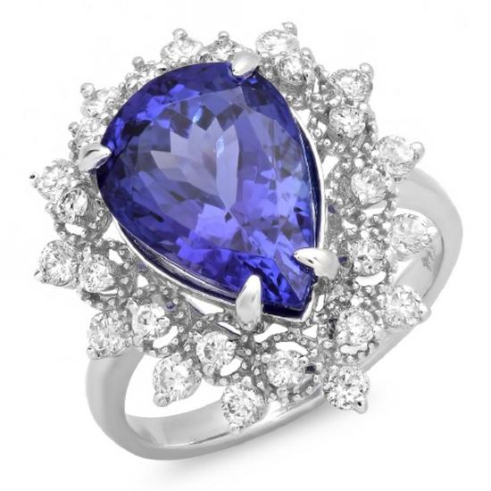14K Gold 4.00ct Tanzanite & 0.75ct Diamond Ring
