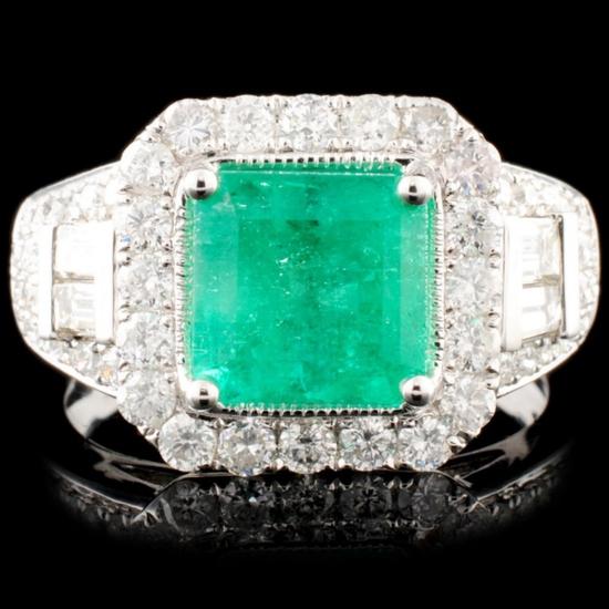 18K Gold 2.03ct Emerald & 1.27ctw Diamond Ring