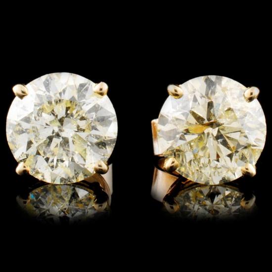 14K Gold 4.42ctw Diamond Stud Earrings