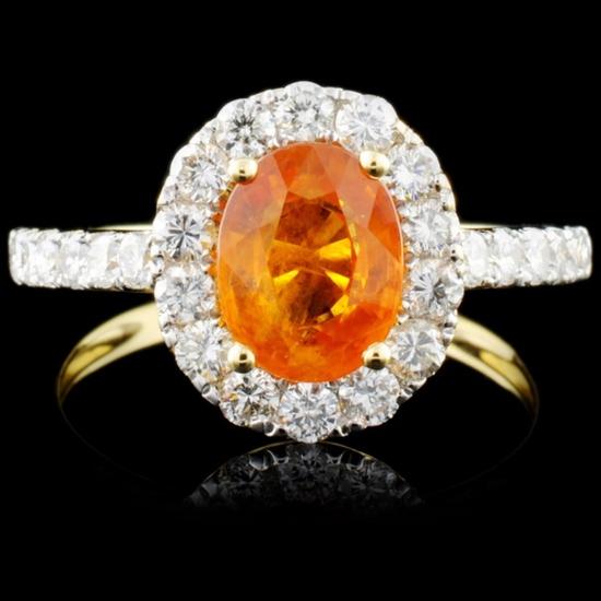 18K Gold 1.44ct Sapphire & 0.73ct Diamond Ring