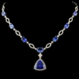 18K Gold 15.47ct Tanzanite & 2.37ctw Diamond Neckl