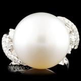 18K Gold 15.00mm Pearl & 0.73ctw Diamond Ring