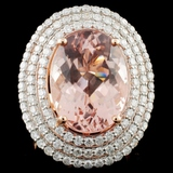 14K Rose Gold 9.77ct Morganite & 1.79ct Diamond Ri