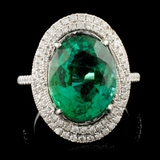 18K Gold 6.24ct Emerald & 0.60ctw Diamond Ring