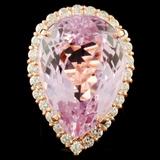 14K Gold 31.27ct Kunzite & 1.47ct Diamond Ring