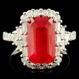 18K Gold 5.36ct Sun Stone & 1.12ctw Diamond Ring