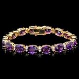 14k Gold 30.00ct Amethyst & 1.35ct Diamond Bracel