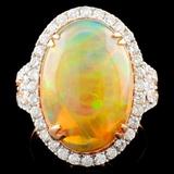 18K Gold 6.25ct Opal & 0.95ctw Diamond Ring