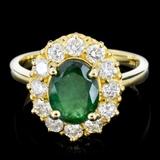 14K Gold 2.00ct Emerald & 1.00ctw Diamond Ring