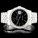Rolex SS DateJust 3.00ct Diamond 36MM Wristwatch