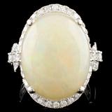 14K Gold 10.70ct Opal & 0.96ctw Diamond Ring