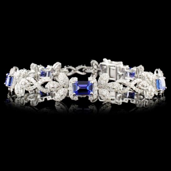 14K Gold 6.28ct Tanzanite & 3.69ctw Diamond Bracel