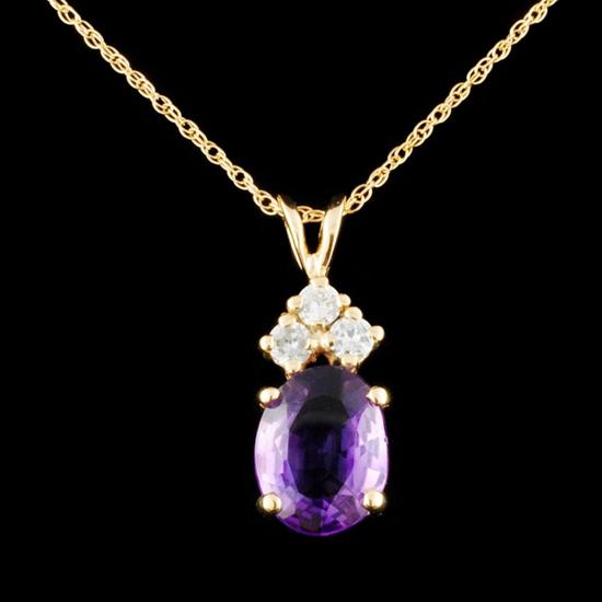 14K Gold 3.00ct Amethyst & 0.26ctw Diamond Pendant
