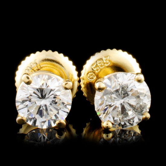 14K Gold 1.12ctw Diamond Earrings