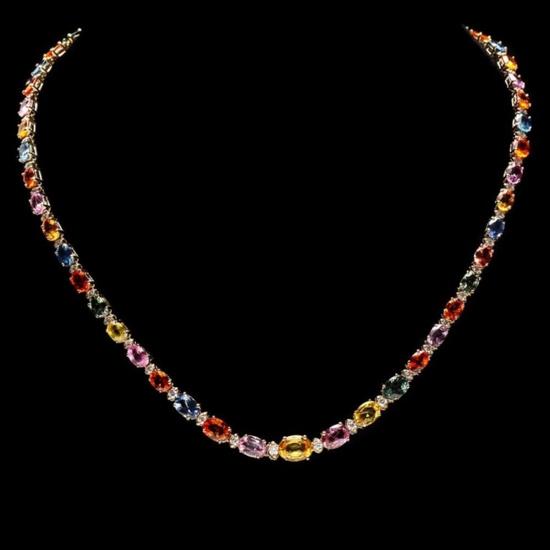 14k Gold 32.00ct Sapphire & 1.50ct Diamond Neckla