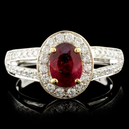 18K Gold 1.08ct Ruby & 0.55ctw Diamond Ring