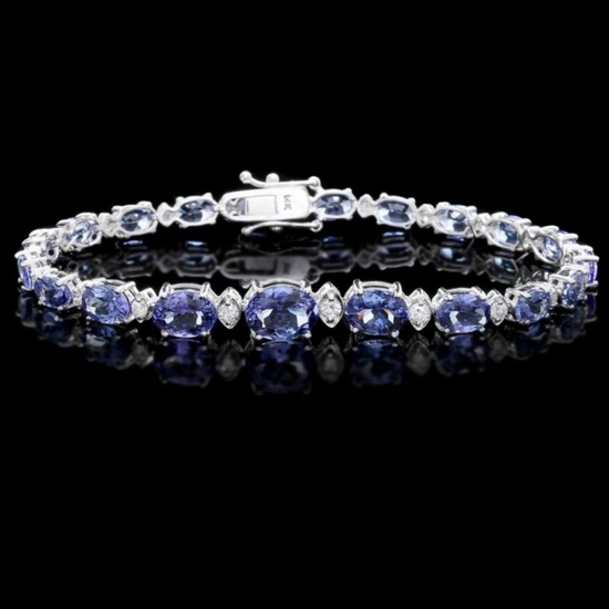 14k Gold 12.00ct Tanzanite & 0.70ct Diamond Brace