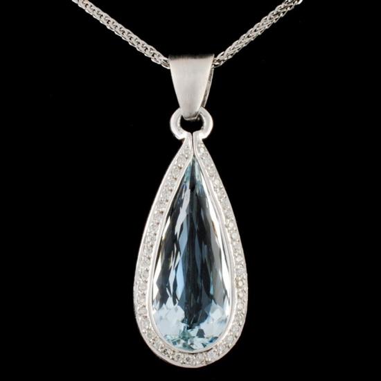 14K Gold 5.00ct Aquamarine & 0.25ctw Diamond Penda