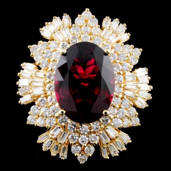 14K Gold 7.83ct Tourmaline & 2.55ctw Diamond Ring