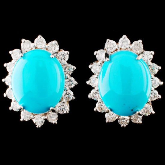 14K Gold 5.48ct Turquoise & 1.30ctw Diamond Earrin