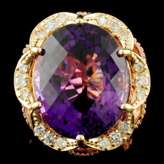 14K Gold 22.59ct Amethyst & 0.80ctw Diamond Ring