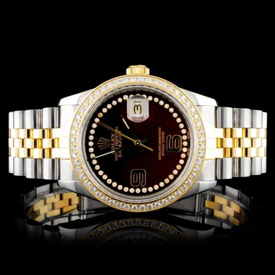 Rolex YG/SS DateJust Diamond Wristwatch