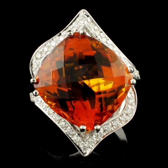 14K Gold 17.11ct Citrine & 0.65ctw Diamond Ring