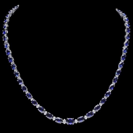 14k Gold 30.00ct Sapphire & 1.00ct Diam Necklace