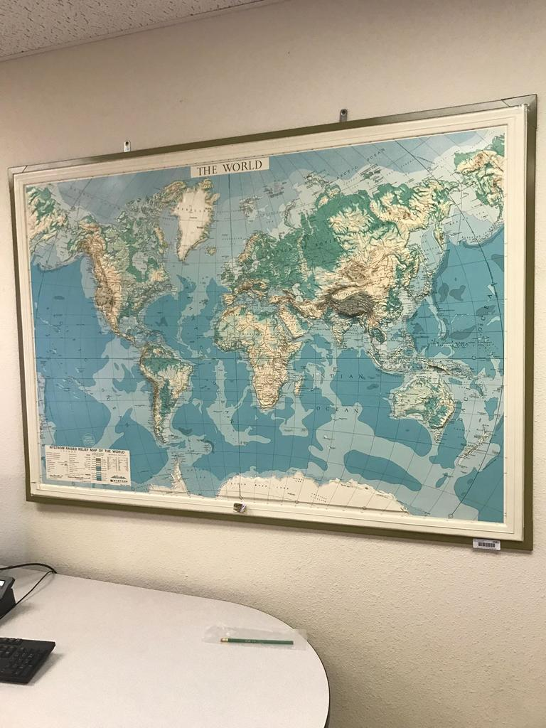 Raised Relief World Map.Lot Nystrom Raised Relief Map Of The World Map No 5nr98 Circa