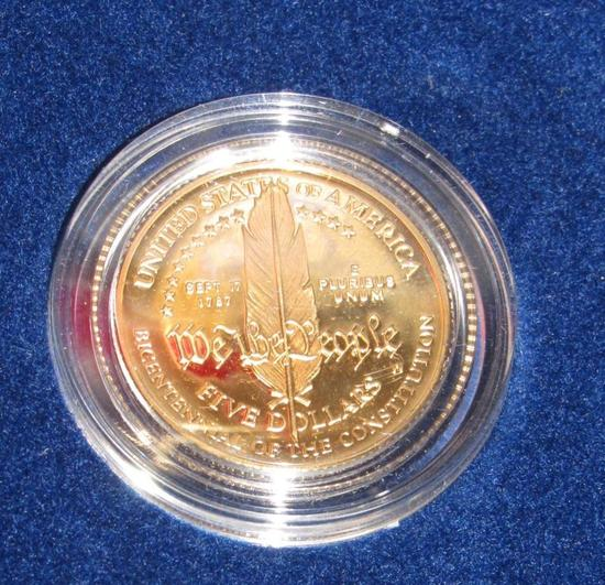 1987 Gold Five Dollar United States Constitution Coin