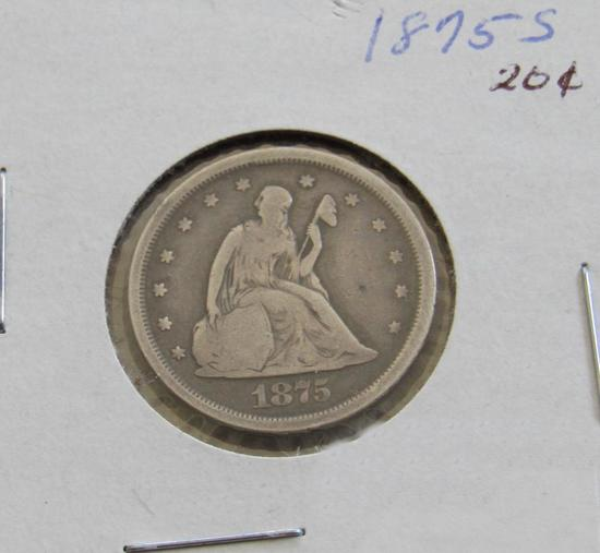 1875 S Liberty Seated Twenty Cent Piece