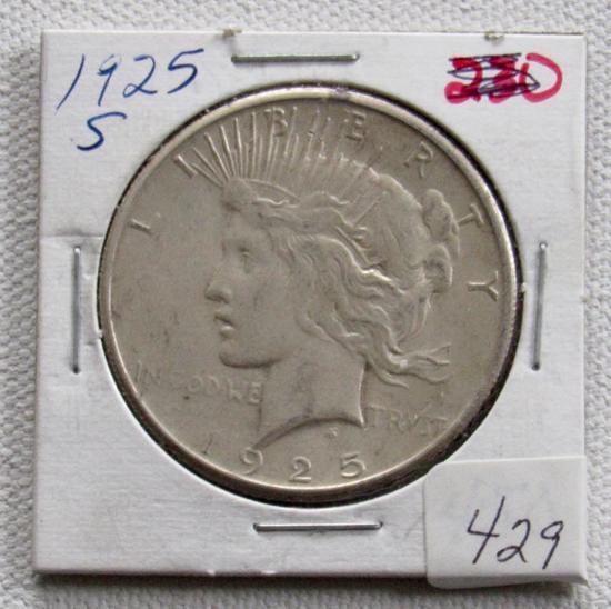 1925 S Silver Peace Dollar