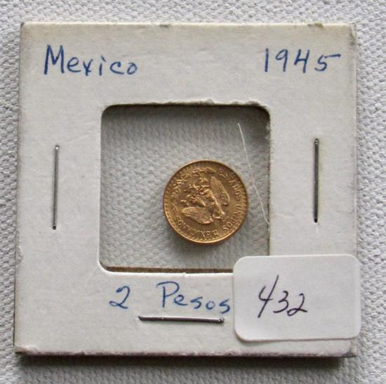 1945 Gold 2 Peso Mexcian Gold